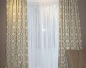 Ready to ship Bali Stone Ikat  2 Curtain Panels