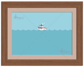 Minimalistic Cute Tug Boat Sea Illustration Photographic Print - Various Sizes - Gift Idea