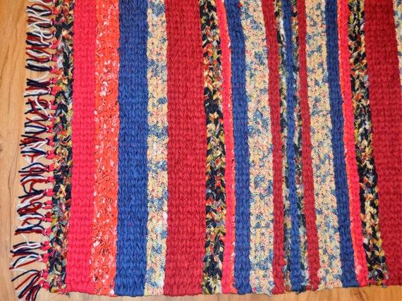 red white blue rag rug cottage rag rugs farmhouse decor. Black Bedroom Furniture Sets. Home Design Ideas