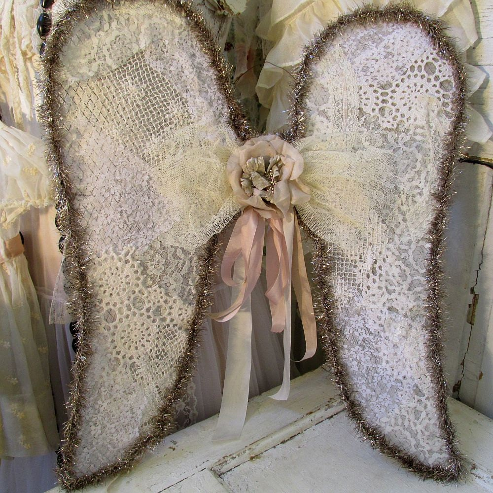 Lace Dance Style Angel Wings Wall Hanging Romantic French