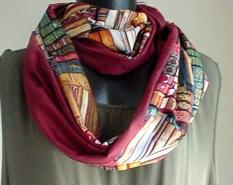 ON SALE-15% OFF- Custom made Gift X-mas Present infinity Scarf cotton Library Books print, Cranberry backing