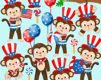 Patriotic Independence Day Fourth of July Monkeys Clipart Set