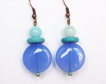 RESERVED FOR MW - Blue disc bead earrings
