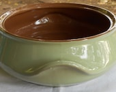 Vintage bakeware planter terrarium cactus bonsai planter pot glazed clay in olive and cocoa brown
