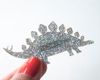 Glitter Stegosaurus Dinosaur Brooch. Laser Cut Acrylic Glitter Sparkly Pin. Perspex Badge. Back to School. Halloween. Gifts for Her. Bridal.