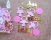 Pink Gold and Pink Baby Shower Confetti - set of 115 pieces - baby shower decor, table confetti, baby girl confetti