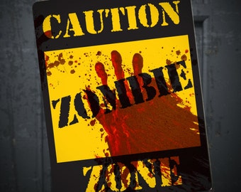 Zombie Caution Sign, Printable DIY Halloween Walking Dead Party Decoration, Blood Spatter, Horror party, zombie apocalypse decor