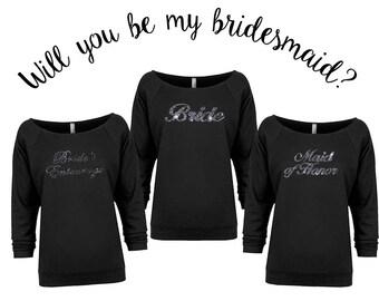 Bachelorette Party Shirts, Bridesmaid Shirts, Maid of Honor Shirt, Bridesmaid Gift, Maid of Honor, Bride Shirt, Will You Be My Bridesmaid
