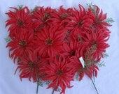 Vintage Plastic Poinsettia Picks, 1960's Plastic Flowers