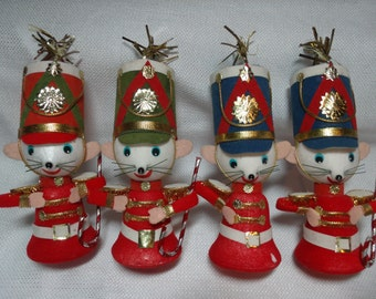 Vintage Christmas Ornament, Drummer Mouse Ornament, Lot of 4