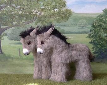 Donkey foal cute little plush burro