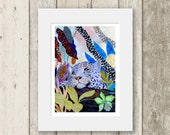 Leopard print / Blue Leopard / Signed & Mounted Giclée Fine Art Print / big cats jungle scene