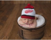 Detroit Red Wings Newborn Photo Prop, Red Wings Baby Hat, Detroit Redwings Baby Hat, Newborn Knit Hat, Baby Girl Redwings Hat, Baby Boy Hat
