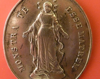 "Large 19 th C  Antique French Religious Solid silver  Miraculous medal  Children of Mary "" Monstra te esse matrem ""  old Pendant jewelry Jv1"