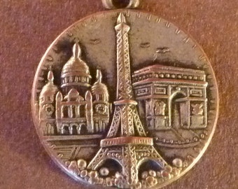 Large Vintage French Medalion  Eiffel Tower  Sacred heart of Jesus  Arch of triumph Paris charm  Bracelet Old Pendant  Medal Jewelry
