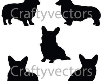 Corgi Dog Silhouettes Vector File