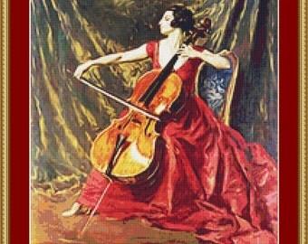 A Woman Playing Cross Stitch Pattern
