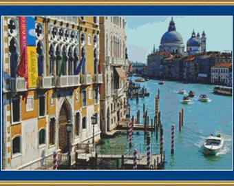 Busy Canal In Venice Cross Stitch Pattern