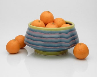 Blue and chartreuse serving bowl with purple stripes. pottery. ceramic. serving dish. salsa bowl. candy dish