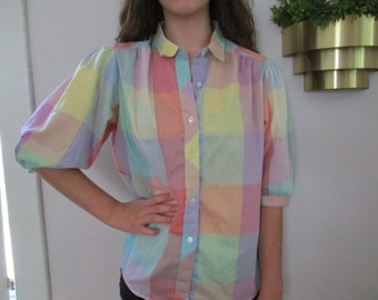 Vintage color block puffy sleeve blouse Cheryl Tiegs USA