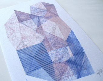 Magical Stone. original linocut monotype print, one of the kind by Paulina R. Vårregn, abstract geo print