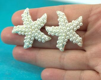 Starfish Stud Earrings Starfish Pearl Earrings Bridal Earrings Beach Wedding Starfish Earrings Pearl Stud Earrings Wedding Earrings KAI