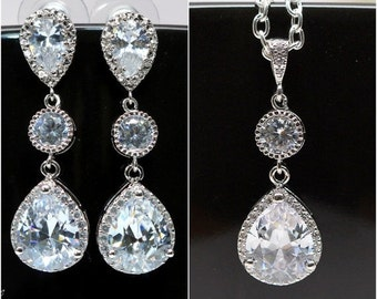Cubic Zirconia Jewelry Earrings & Necklace Set Bridal Jewelry Wedding Jewelry Bridesmaid Jewelry Crystal Jewelry Pave Crystal Sparkly Bling