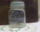 Vintage HAZY Clear Glass Pint Sized Drey Square Mason Jar with Rustic Zinc Lid B1292