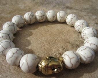 Buddhist Bracelet. Howlite Bracelet. Buddha Bracelet. Stackable Bracelets Buddha Beaded Bracelet. Yoga Jewelry. Mala. Energy.