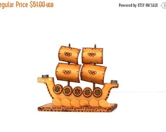 Viking Ship Wooden Candle Holder Vintage Handmade Home Decor Vikings, Olympics Olympic Games OG Olympic rings Olympics Collectibles