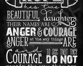 "Scripture Art - Quote ""Anger and Courage"" by St. Augustine ~ Chalkboard Style"