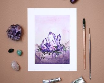 Amethyst and Jasmine - Fine art print from original watercolor illustration
