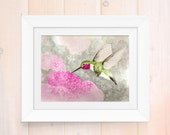 Watercolor print, hummingbird painting, watercolor hummingbird art print, giclee print, home decor, garden artwork, bird lover art print