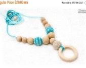 SALE 25% off Nursing necklace, Organic Teething necklace with wooden ring pendant -cream and turquoise, natural wooden beads