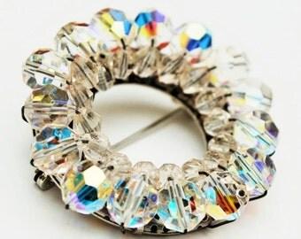 Crystal Bead Brooch Aurora Borealis glass Wreath  pin