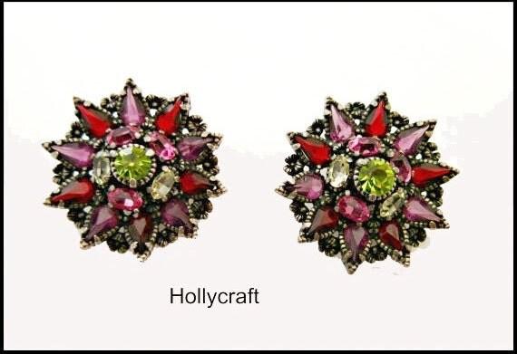 Rhinestone Flower Earrings - Clip on earrings -1954 Hollycraft - purple Green floral