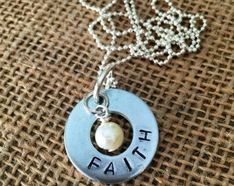 FAITH hand stamped washer necklace