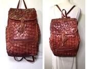 Brown Leather Backpack Vintage 1980s Woven Distressed Leather Carryall Large Leather Backpack Carryall Bag Messenger Bag School Bag