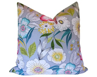 Custom Pillow Cover / Amagansett in Sterling by Covington / Floral / Teal Pink Yellow / Both Sides / Made to Order