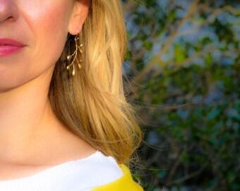 Matte Gold Branch Earrings Autumn Dangle Earrings (109)