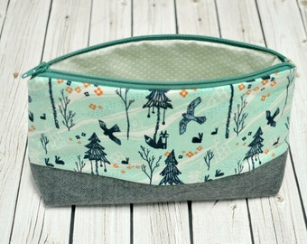 Zippered Pouch - Cosmetic Bag - Toiletry Bag - Woodland Cotton Fabric - Cosmetic Pouch - Small Zipper Pouch - Teal and Grey Forest