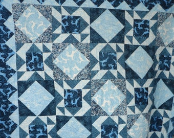 Quilt - Winter Stag - Large Batik Lap Quilt in Blue and White - Quilted Throw - Christmas Quilt