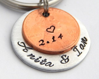 Personalized Penny Couples Key Chain for Valentine's Anniversary Wedding - Lucky Penny