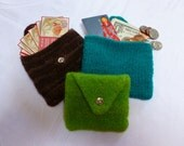 Hand Knit and Felted Mini Wallet, Business Card Holder