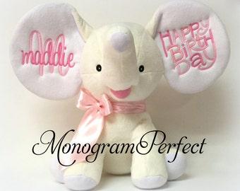 Personalized Birth Announcement Cream Floppy Ear Stuffed Elephant - Happy Birthday