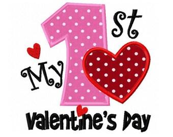 Valentines Day Love Heart First 1st Valentines Day Custom Monogram Applique Shirt Girls Boys Baby Shirt Onesie