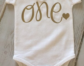First Any Birthday One Cursive Onesie Shirt Outfit Gold or Glitter Baby Cute Baby Shower Gift Any Age and Color Available