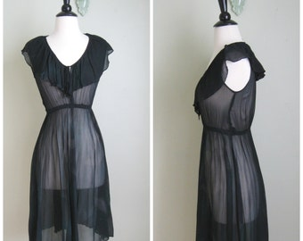 1960's Black Sheer Dress// Phase II