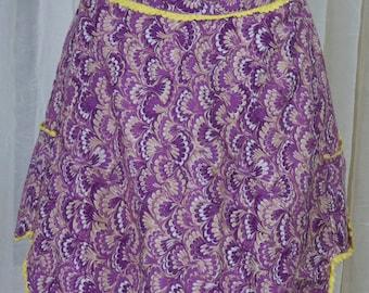 vintage purple tulip apron w/ yellow bric a brack trim.  Vibrant, kitchen, hostess, cookout.