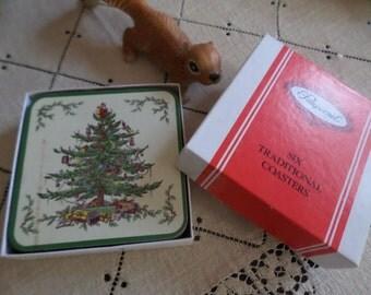 Boxed Vintage Pimpernel Christmas Tree Coaster Set-X6-England-Drink/Beverage